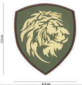 Badge-PVC-Velcro-3D-NL-Leeuw-groen-7-cm