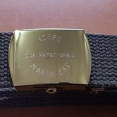 Riem-groen--3-cm-gouden-gesp-Graveer-Korps-Mariniers