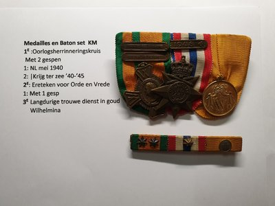 KM 01 Medaille/baton set van 3
