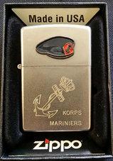 Zippo-Marns-baret-logo-graveer-anker