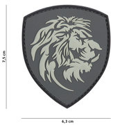 Badge-PVC-Velcro-3D-NL-Leeuw-grey-7-cm