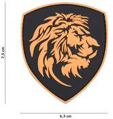 Badge-PVC-Velcro-3D-NL-Leeuw-oranje-7-cm